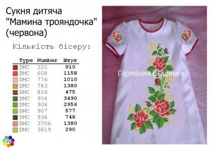 Заготовка дитячого платтячка ПДкр Мамина трояндочка червона Гармонія