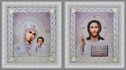 Набір вінчальних ікон (срібло) Р-366 Картини бісером