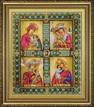 Чотиричастинна Ікона Пресвятої Богородиці Р-429 Картини бісером