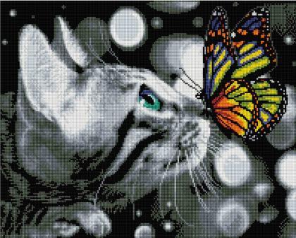 Котик з метеликом SP080 Алмазна мозаїка IF