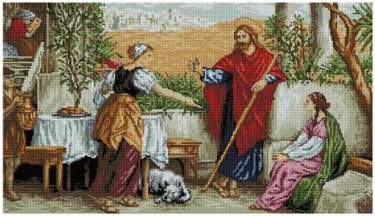Ісус у Марти і Марії SS808 Алмазна мозаїка IF
