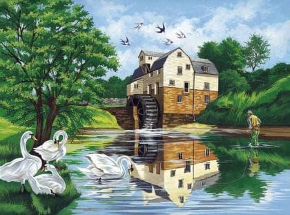 Лебеді біля річки