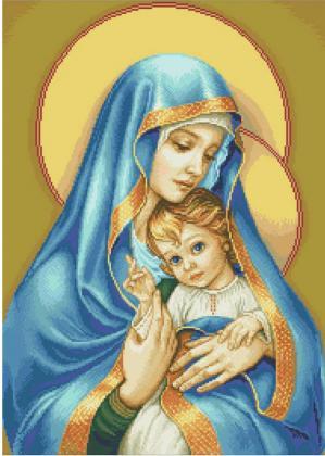 Діва Марія з Ісусом ST421 Алмазна мозаїка IF